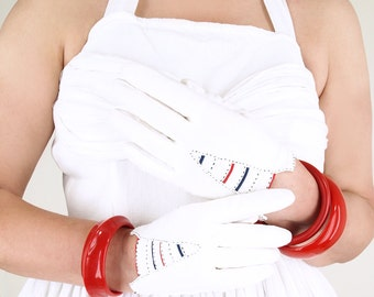 40s White Cotton Gloves with Victory V of Red, White and Blue Stripes - Size 7