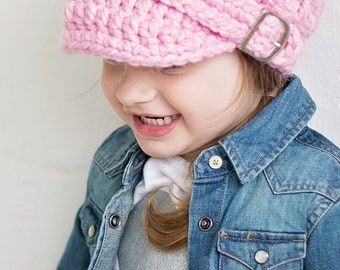 Toddler Girl Hat 2T to 4T Pink Toddler Hat Toddler Girl Clothes Toddler Clothing Pink Blossom Light Pink Buckle Beanie Winter Hat Crochet