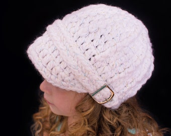 Toddler Girl Hat 2T to 4T White Sparkle Toddler Hat Toddler Girl Clothes Toddler Clothing Warm Winter Hat Silver Buckle White Toddler Hat