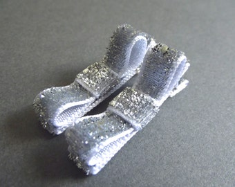 Silver Hair Clips Glitter Hair Clips Sparkly Hair Clips Silver Tuxedo Bows Silver Bow Hair Clips Baby Girl Hair Clips Baby Hair Clips