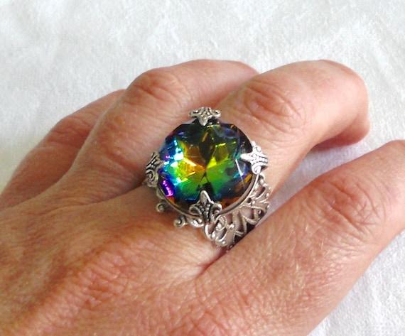 osO RAINBOW Oso swarovski crystal ox silver ring