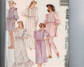 1980s Misses Sewing Pattern McCalls 4548 Misses Pajamas Nightgown Ruffled Size 6 8 Bust 30 31 32 1989 80s UNCUT
