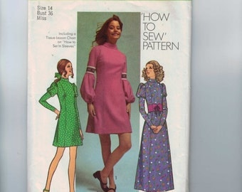 1970s Vintage Sewing Pattern Simplicity 9625 Misses Dress Pattern with Puff Sleeves Susan Dey Model Size 14 Bust 36 1971 70s