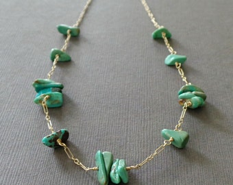 Turquoise Bar GF Necklace Beaded Necklace - Sample Sale