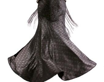 Skirt, YOUR SIZE, Mermaid, Black & Dark Silver, Stretchy, Nouveau, Tribal, Fusion Bellydance, Dark Bridal, Cabaret, Goth, Cocktail, Boutique