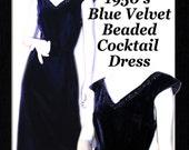 Dress Velvet Beaded 1950's Cocktail Blue Starlet Bombshell Hourglass