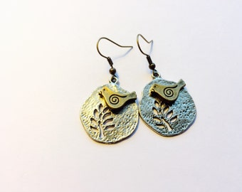 Antique Brass Bird and Silver Tree of Life Earrings