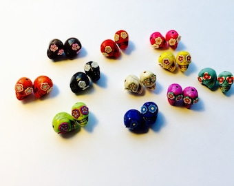 Sugar Skull Day of the Dead 13mm Beads-Variety of Eleven Pairs