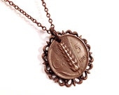 Italian lire coin necklace with filigree, wheat motif, 1923