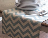 Blue Chevron Table Runner - Weddings, Receptions, Parties, Dining Table, Buffet, Home Decor
