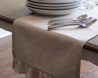 Ruffled Linen Table Runner - Weddings, Receptions, Parties, Dining Table, Buffet