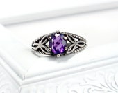 Celtic Knot Ring: Amethyst and Sterling Silver - six prong, 7x5mm oval, vintage silver setting, rope knot pattern, custom size