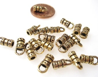 On Sale 20pcs of Antique Gold Cord Ends with 3.5mm Loop, 2mm I.D. plated Brass 10x4mm BC 093