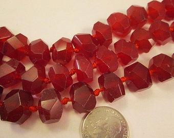 SALE, Jade Beads, Red Dyed New Jade, Center Drill, Semi Faceted Nugget, 12-16mm, 1mm Hole, Qty 6 - gm425