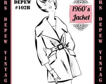 Vintage Sewing Pattern 1960's Shift Jacket in Any Size - PLUS Size Included - Depew 102B -INSTANT DOWNLOAD-