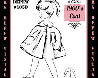 Vintage Sewing Pattern 1960's Girls' Coat in Any Size - PLUS Size Included - Depew 105B -INSTANT DOWNLOAD-