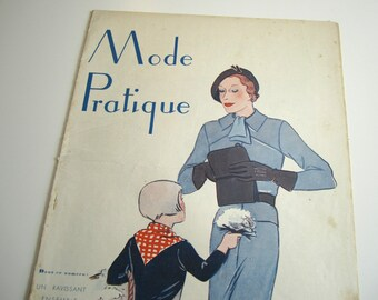 1930's Vintage French Magazine Mode Pratique May, 1934 Flapper Fashion and Sewing