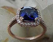 AAAA Lab grown Cushion cut Blue Sapphire 8x8mm 2.50 ct in 14K Rose gold Halo engagement ring with .30 carats of diamonds H88