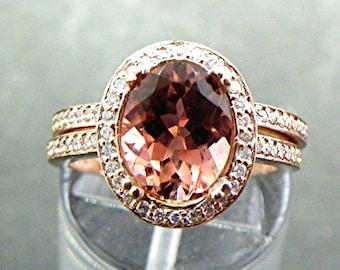 Natural Pink Tourmaline   10x8mm  2.49 Carats   in 14K rose gold diamond bridal set(.35ct) 1403 B108
