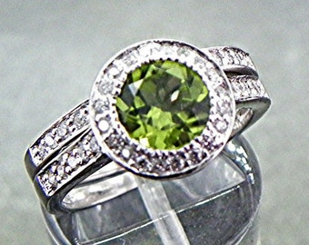 AAA Round Green Peridot   7.04mm  1.79 Carats   14K white gold bridal set with .35 cts of diamonds. B007 0221 MMM