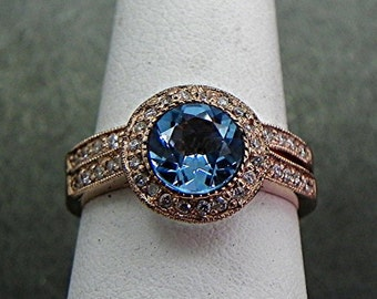AAA Natural Swiss Blue Topaz Round untreated   7mm  1.48 Carats   in 14K Rose gold bridal set with .35cts of diamonds. B007 1460