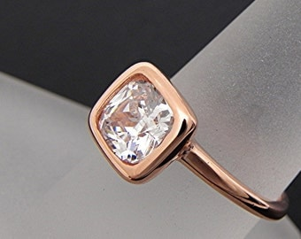 AAA White Topaz 7x7mm brilliant Cushion Cut  2.78 carats in a 14K Rose gold engagement ring. 2052