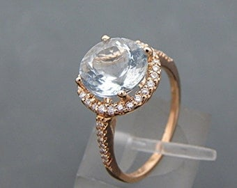 AAA Aquamarine Natural Untreated   9.0mm  2.14 Carats   14K Rose gold and diamond Engagement Halo ring 2011R