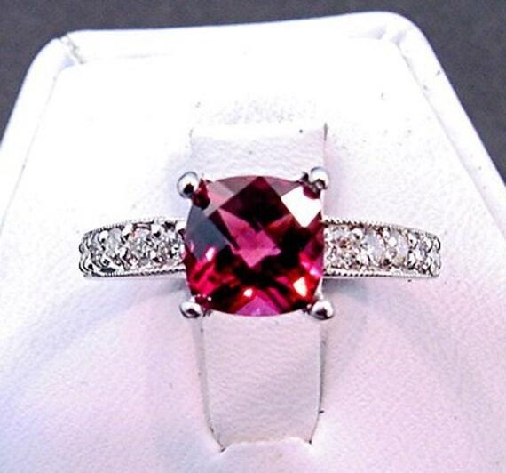AAAA Rhodolite Garnet   8x8mm  2.25 Carats   14K White gold diamond (.30ct) Engagement Ring 0753