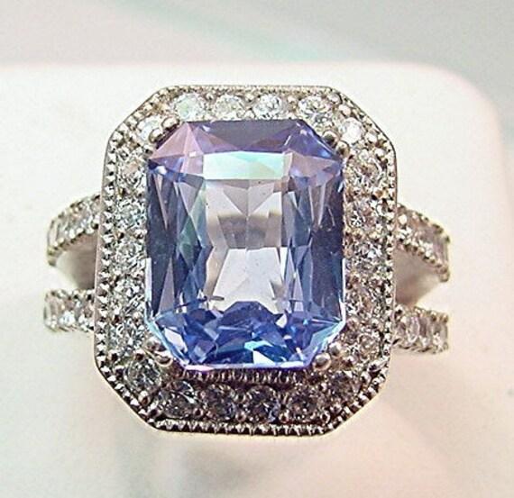 Fantastic Blue Natural CEYLON SAPPHIRE 6.22 Carat 12x9mm 14K white gold and diamond ring  0274 MMM