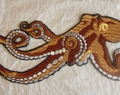 """Extra Large Realistic Ocean Octopus - Embroidered Iron on Applique - Patch - 10.5"""" wide x 6.5"""" tall"""