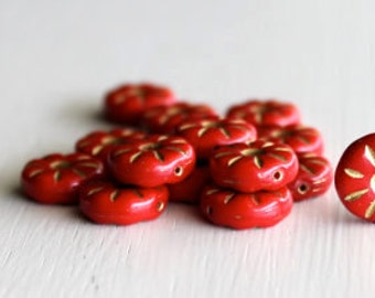 15 Opaque Red/Gold 12mm Daisy Czech Glass Flower Bead