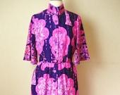 Vintage Hawaiian Floral Print Maxi Dress- Size L-XL