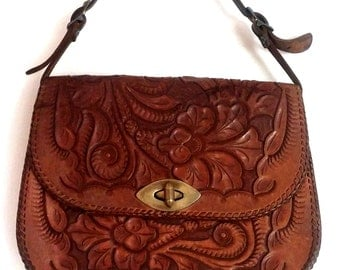Tobacco Brown Tooled Leather Purse