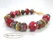 Chunky Gemstone Bracelet Cranberry Red Jasper Ruby Zoisite Stone Gold Brass