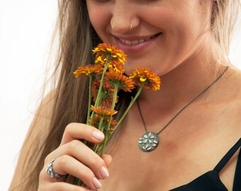 Wall paper flower pendant, Silver Flower Necklace, Flowers texture pendant