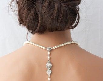 Pearl Backdrop Bridal Necklace Crystal Pearl Wedding Necklace Simple Back Drop Swarovski Crystal Wedding Jewelry AMELIA