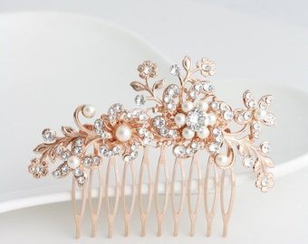 Flower Wedding Comb Rose Gold Bridal Hair Accessory Swarovski Crystal Leaves and Flower Bridal Comb SABINE COMB
