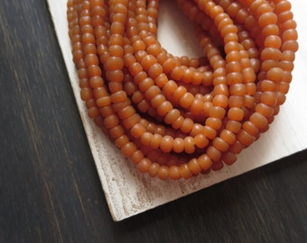 small matte seed beads, orange  glass beads, Irregular spacer beads, barrel tube, New Indo-pacific  3 to 6mm / 22 in strand,5A4-12