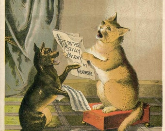 Antique 1880 Vintage Illustration, Print, Cat and Dog Singing Together with Sheet Music, Pussina and Fido A Singing Lesson, Bookplate Print