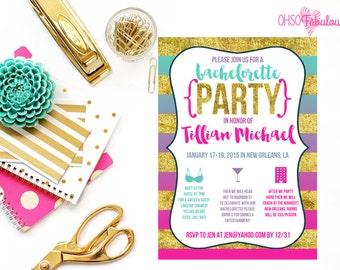 Glitter Ombre 2 // Bachelorette Party Invitation // Customizable and PRINTABLE