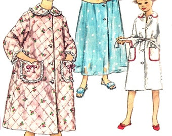 Chid's Robe Pattern Children's Vintage 1960s Simplicity Sewing Long Short Housecoat Girls Size 6