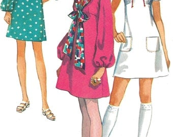 1970s Dress Pattern Mini Mod Back Zip Simplicity Vintage Sewing Women's Misses Size 10 Bust 32 .5 Inches
