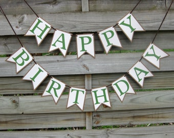 Happy Birthday Banner in Green and Brown - birthday party decoration