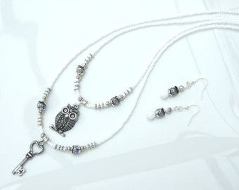 Layered Set - White & Silver Owl and Key Pendant Necklace and Earrings