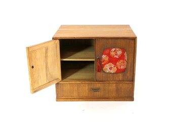 1950s Japanese Jewelry Cabinet, Silk Panels, Vintage Bamboo Box