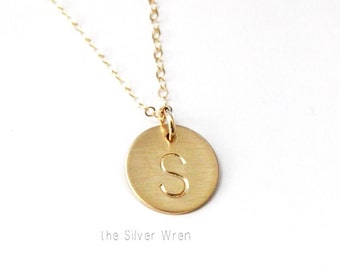 Gold Initial Necklace, Personalized Necklace, Simple Gold Necklace, Gold Letter Necklace, Bridesmaids Gift, Monogram necklace