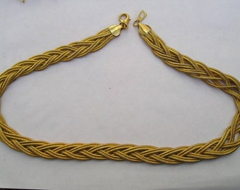 Thick Woven Braided Gold tone Chain Necklace