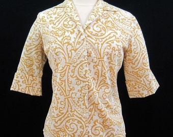 Vintage 60s Blouse White Stag Classic scroll print yellow white cotton top shirt L