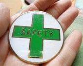 1 green cross safety vintage badge sticker paper metal ephemera