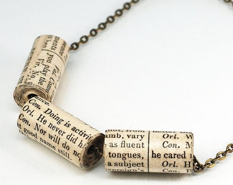 Shakespeare Jewelry- Shakespeare Necklace, Upcycled Paper Bead Necklace, Brass Chain, Book Lovers Gift, Book Jewelry, Literary Jewelry